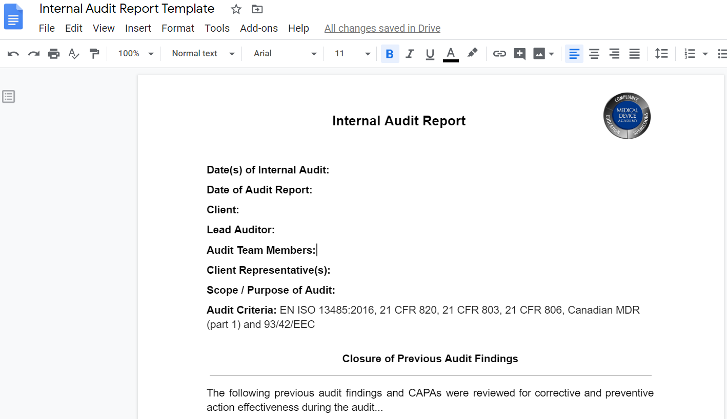 Google Docs Audit Report Template Remote audit opening meeting   5 changes
